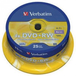 Диск DVD+RW Verbatim 4.7Gb 4x CakeBox 25 шт silver (43489)