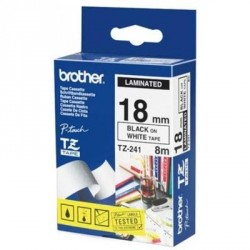 Бумага Brother 18mm Laminated white, Print black (TZE241)