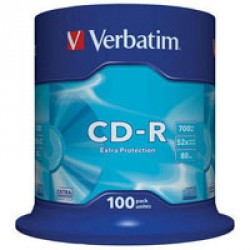 Диск CD-R Verbatim 700Mb 52x Cake box 100шт Extra (43411)