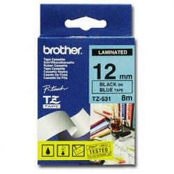 Бумага Brother 12mm Laminated blue, Print black (TZE531)