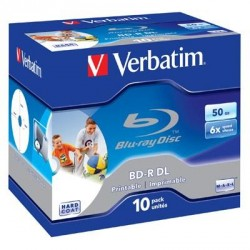 Диск BD-R Verbatim DL 50Gb 6x Jewel 10шт Wide Printabl (43736)