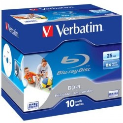 Диск BD-R Verbatim 25Gb 6x Jewel 10шт Printable (43713)