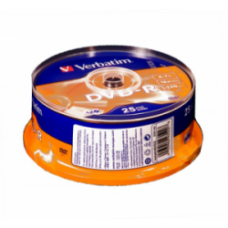 Диск DVD-R Verbatim 4.7Gb 16X CakeBox 25шт (43522)