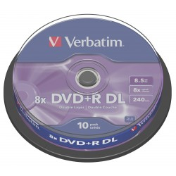 Диск DVD+R Verbatim 8.5Gb 8x CakeBox 10 шт Matte Silver (43666)