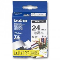Бумага Brother 24mm Laminated white, Print black (TZE251)