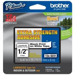 Бумага Brother 12mm Laminated white, Print black (TZES231)