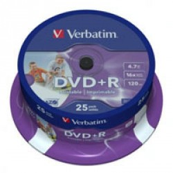 Диск DVD+R Verbatim 4.7Gb 16X CakeBox 25шт Silver (43500)
