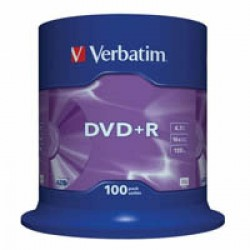 Диск DVD+R Verbatim 4.7Gb 16X CakeBox 100шт (43551)