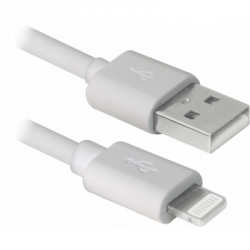 Дата кабель Defender ACH01-03BH USB - Lightning, white, 1m (87479)