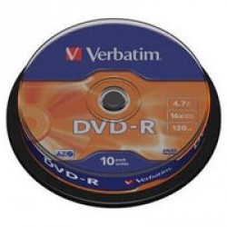 Диск DVD-R Verbatim 4.7Gb 16X CakeBox 10шт (43523)