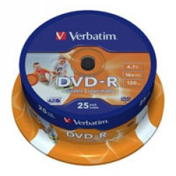 Диск DVD-R Verbatim 4.7Gb 16X CakeBox 25шт Printable (43538)