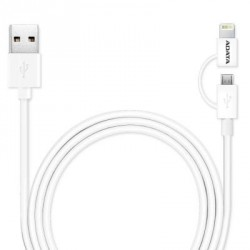 Дата кабель ADATA USB 2.0 – 2in1 Micro USB + Lightning 1.0m (AMFI2IN1-100CM-CWH)